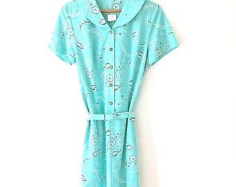 Vintage Dress Size 14 Tunic Turquoise Blue Paisley Print Belt 60s 70s Shirt