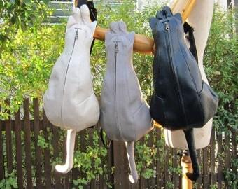 Chigracci/Real Cat body bag gray/cat type bag/leather/Japan/Gray cat/made in Japan/cat bag