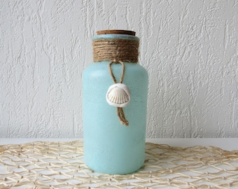 Decorative bottle with seashell and rope - Coastal decor - Beach style decoration - Glass decorative bottle - Beach house decor