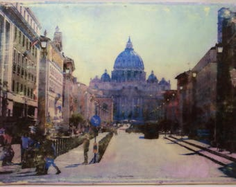 Picture on Wood- Rome, Italy 5x7