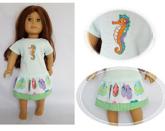 "Tee shirt style dress fits 18"" dolls such as American Girl"