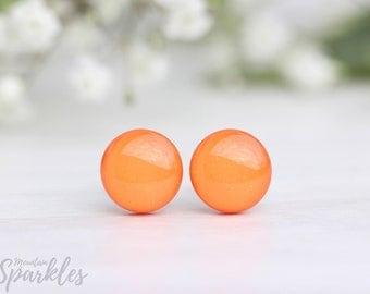 Orange stud earrings, Simple Stud Earrings Orange, Orange earrings minimalist, Orange Nickel Free Hypoallergenic Earrings, Bridesmaid Gift