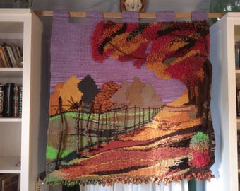 """Wool tapestry Landscape """"Autumn Afternoon""""/wool tapestry Landscape """"Autumn Afternoon"""""""