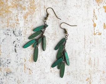 Forest Green Stone Dangling Earrings.