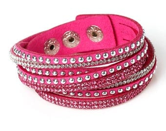 Winding bracelet * Glitter stones silver Pink