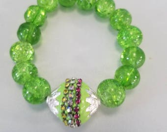 Green glass bead and green bead charm bracelet -charm bracelet-bracelet-beaded bracelet
