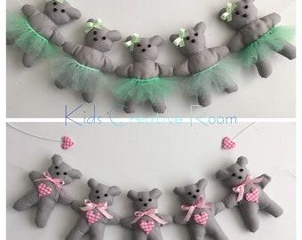 Nursery teddy bear garland fabric handmade many colours