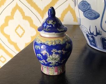 Vintage Chinoiserie Temple Jar