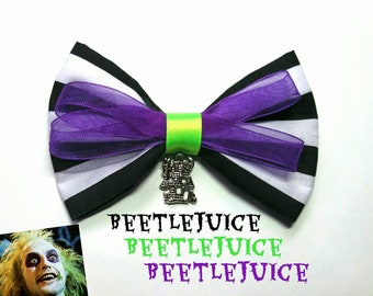 Beetlejuice inspired hair bow