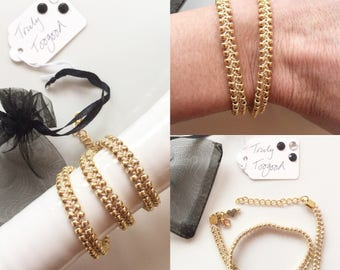 Handmade double wrap, gold, braided, seed bead bracelet by Truly Toogood