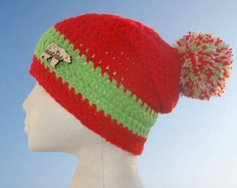 Natsats Red and green baggy beanie