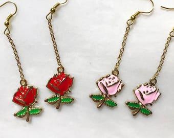 Type1 2 Color Way Rose Flower Earrings Red/Pink