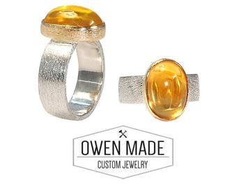 Sterling Silver Ring with Genuine Citrine