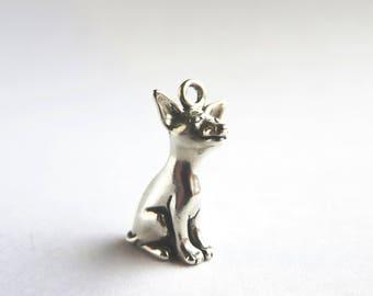Sterling silver sitting Chihuahua dog charm- 3D Chihuahua pendant