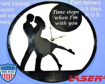 Valentines Couple, Vinyl Clock, Valentines Gift, I Love You Gift, Birthday Gift, Sweetheart, Record Art, Girl Gift