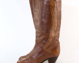Vintage Tan Leather Heeled Brazilian Boots UK 6 EU 39