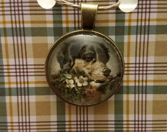 Dog and Flowers Pendant