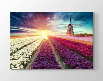 Flowers and Windmill Printing On Canvas, Wall Art, Canvas Prints, Room Deco, Beautiful View, Wonder