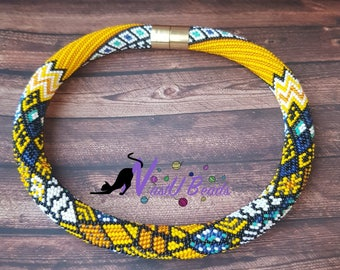 """Beads crocheted necklace """"Stained-glass mosaic"""""""
