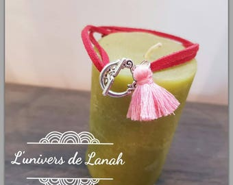 Burgundy tassel with pink red suede bracelet