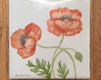 Hand painted tile, poppies
