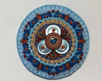 Felt Circle Brooch in Blues and Browns