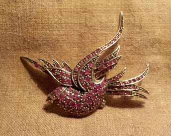 Beautiful silver and ruby set brooch