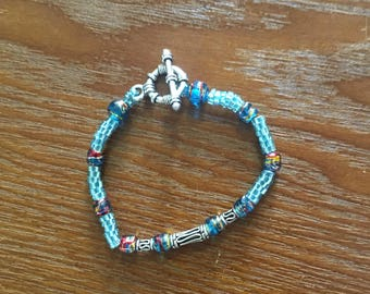 Blue Bracelet with Decorative Beads