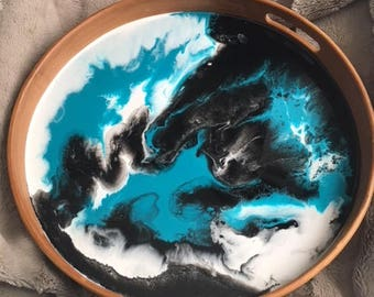 Teal, Black and White Resin Serving Tray