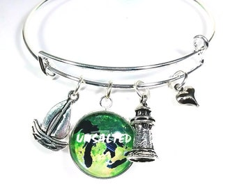 Unsalted Bracelet, Unsalted Charm Bracelet, Unsalted Bangle, Great Lakes Jewelry, Michigan Jewelry, State of Michigan Jewelry