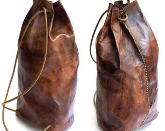 Dark Brown Vegetable Tanned Leather Backpack