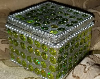 Green Sequin Trinket Box