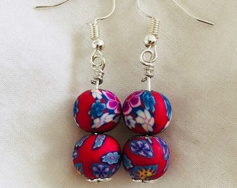 Dangling Earring with printed polymer clay bead