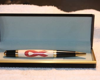 Handturned Inlayed Cancer Awareness Ribbon Pen in s Black Velour Case