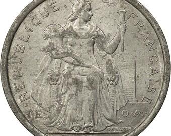 french polynesia franc 1975 paris ef(40-45) aluminum km11