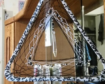 Unique black and white triangle dreamcatcher