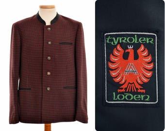 Austrian Tyroler Loden trachten blazer JACKET / mens size 98 / S-M small-medium / check pattern / wool-blend