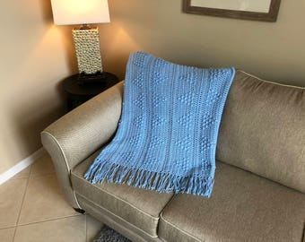 Light Blue Popcorn Triangles Afghan w/ Tassels