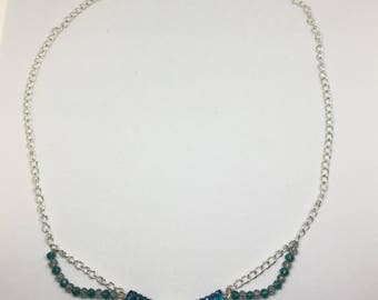 Blue Tube Beaded Necklace