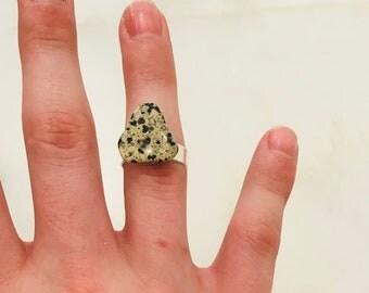 Dalmation Stone Ring Chakra Healing Jewelry Dalmation Jasper Reiki