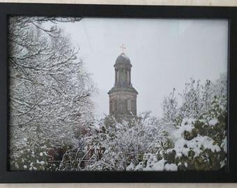 St Chads Church, Shrewsbury in the snow