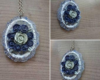 Pendant Pink Blue and silver