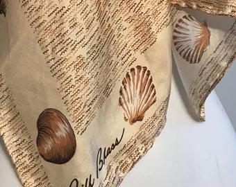 Vintage Bill Blass Seashells Silk Scarf