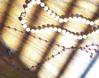 1920s brand red beaded necklace and faux pearl necklace
