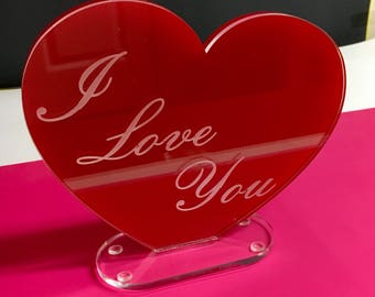 "Red Acrylic/Lucite Laser engraved ""I Love You"" Heart"
