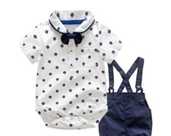 Dunagrees, shirt vest and removable bow tie set