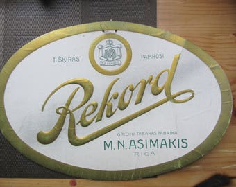 "1930ies Latvia Tobacco Cigarette Advert Sign "" REKORD "" manufacture Asimakis"