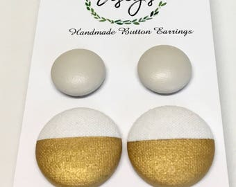 Handmade Fabric Button Earrings - Beige & Gold 2 stripe, These lovelies are sure to impress