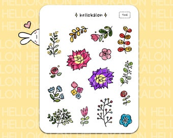 leaves and flowers. decorative stickers. planner stickers. bullet journal stickers, erin condren (t006)