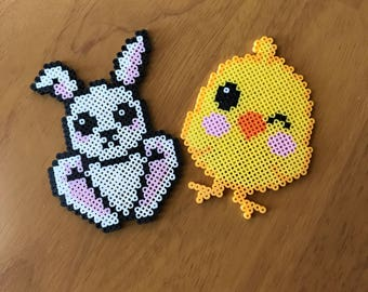 Perler Bead Bunny and Chick